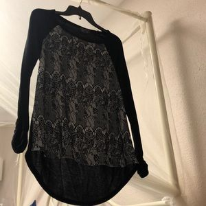 Black and lace dressy top